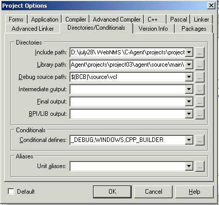 Project Options Dialog